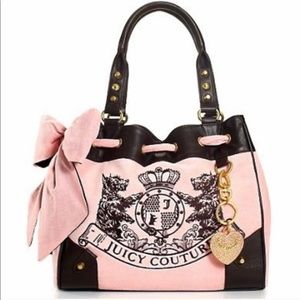 Juicy Couture Gray Velour and Pink Bow Tie Purse